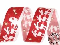 Christmas Ribbon Santa with Reindeer width 25 mm