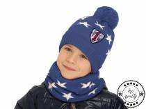 Boys Set Hat with Pom Pom & Snood