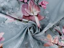 Satin Fabric, digital print of Magnolia Flowers, Indonesia