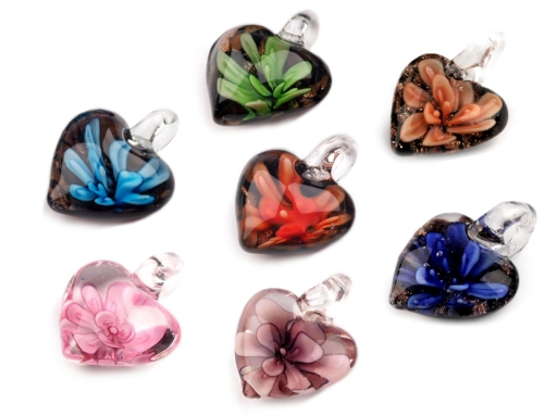 Glass Pendant Heart 21x21 mm