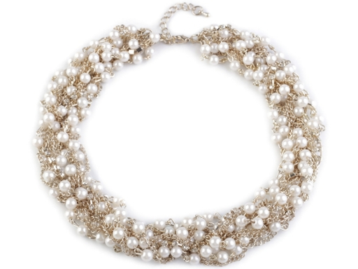 Multi-strand Chain and Imitation Pearls Necklace