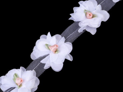 Clothing Braid / Trimming Flowers, Roses on Tulle width 60 mm