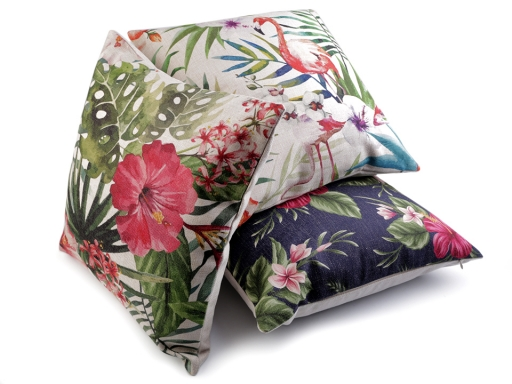 Pillow / Cushion Cover 43x43 cm Flamingo and Exotic Flowers
