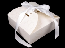 Paper Box with Ribbon and Glitters 21x21x7 cm