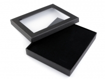 Jewellery Paper Box with transparent lid 3x16x19 cm padded
