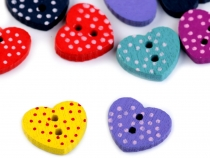 Wooden Decorative Button - Flower, Heart, Star with Dots