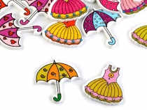 Decorative Wooden Button Dress, Umbrella
