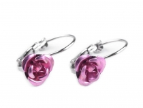 Earrings with metal rose
