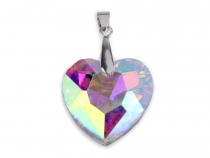 Pendant heart 15x18 mm faceted with pinch bail