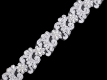 Embroidered Lace Trim with Faux Pearls width 40 mm