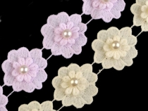 Flower Lace Trim with Pearl Bead width 40 mm