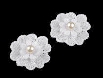 Lace Flower Applique with Pearl Bead Ø40 mm