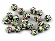 Camouflage Army Fimo Clay Beads Ø8 mm
