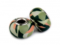 Camouflage Army Fimo Clay Charm Beads