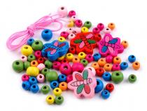 Color Wooden Beads Musical on card 12 sachets