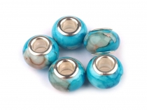 Plastic Marbled Charm Beads 9x13 mm