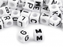Plastic Beads Cube 6 mm with Letters