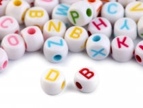 Plastic Round Beads with Letters Ø7 mm