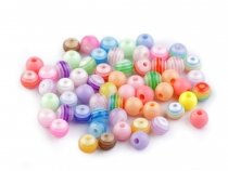 Plastic Beads Ø6 mm with Stripes