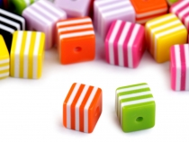 Plastic Beads Cube with Stripes 7x8x8 mm
