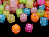 Plastic Beads Cube with Letters 6 mm