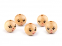 Wooden Beads with Face Ø18 mm