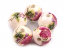 Porcelain Floral Round Beads Ø12 mm