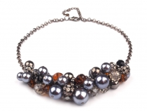 Metal Bib Necklace with Beads