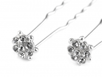 Rhinestone Flower Hair Pin Ø16 mm