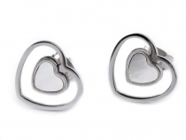 Stainless Steel Enamel Heart Earrings