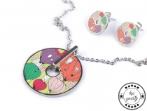 Stainless Steel Necklace and Earrings Donut