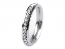 Stainless Steel Ring with Rhinestones