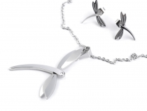 Stainless Steel Necklace and Earrings Set Dragonfly