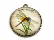 Round Charm Pendant Ø37 mm with Dragonfly