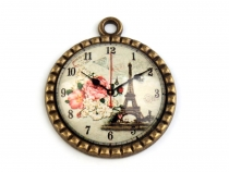 Round Charm Pendant Ø30 mm with Clock