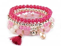 Bead Stretch Bracelet Set with Tassels