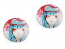 Glass Dome Cabochon with Girl Ø30 mm