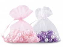 Plastic Beads on Elastic in Organza Bag