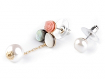 Mismatched Earrings Faux Pearl / Rose