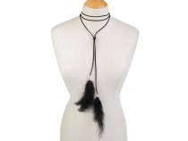 Long Necklace / Choker with Feathers