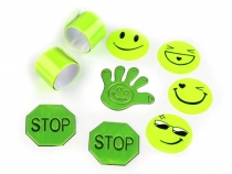 Reflective Sticker Set 9 pcs - smiley, hand, stop, bracelet