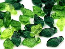 Plastic Transparent Leaf Beads 5x10 mm mix
