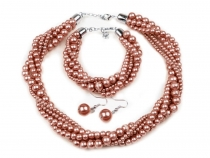 Glass-Based Imitation Pearls Necklace, Bracelet and Earrings set