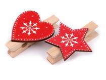 Christmas Peg Decorations 6x45mm Heart, Star, Tree set of 6pcs