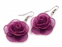 Metal Rose Drop Earrings Ø30 mm
