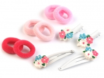 Hair Set - Scrunchies Elastic Hair Ties and Clips with Flower