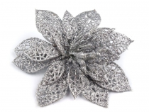 Christmas Decor Metallic Poinsettia with clip Ø14.5 cm