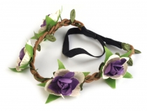 Elastic Braid Headband with Flowers