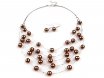 Bib Necklace and Earrings Set with Beads