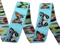 Patterned Ribbon width 16 mm Butterflies